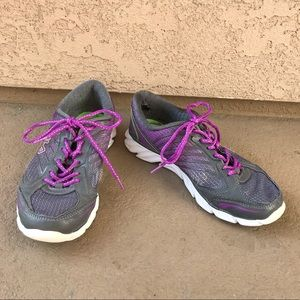 Fila Woman's Lace Up Gray & Purple Athletic Shoes